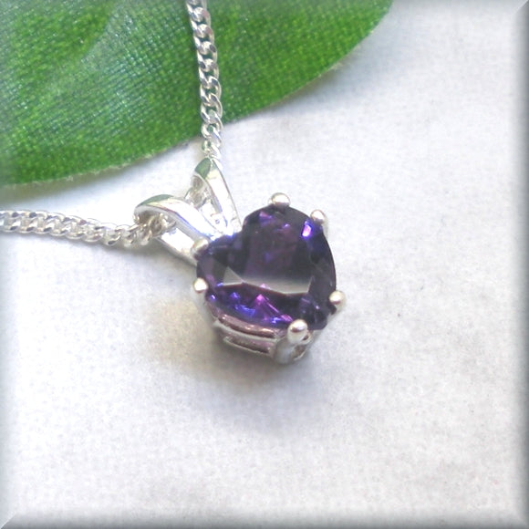 Faceted heart amethyst necklace