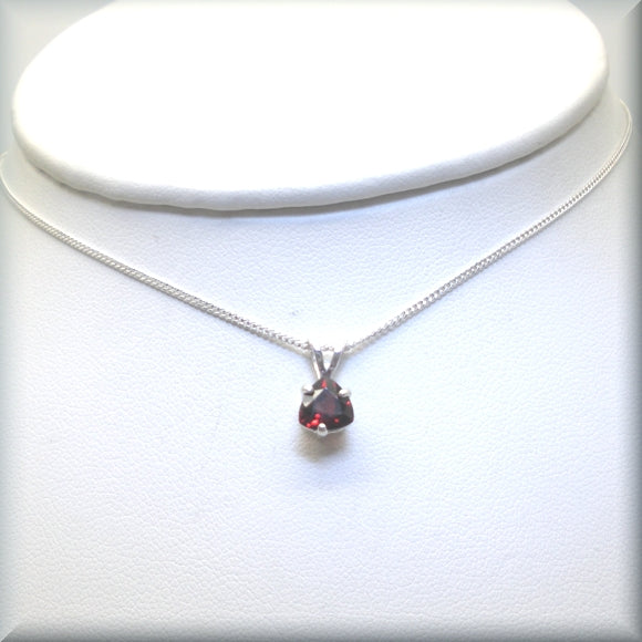 January birthstone necklace in deep red garnet