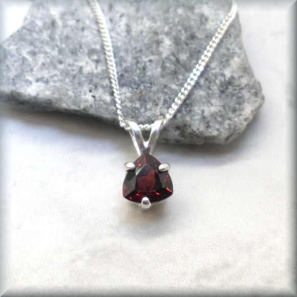 Trillion cut garnet necklace in sterling silver