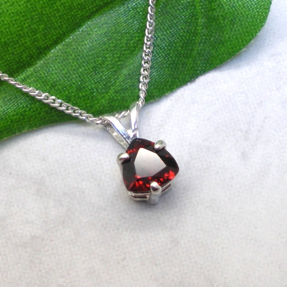 Natural Garnet necklace in a sterling silver setting
