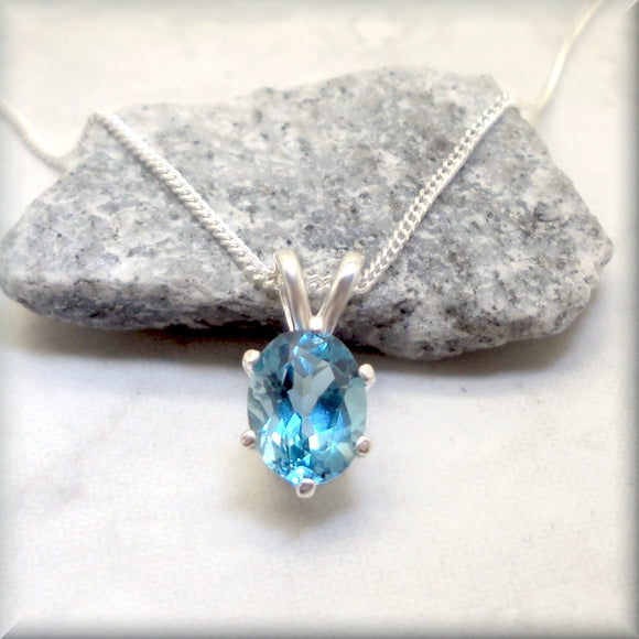 Oval London Blue Topaz Necklace - Sterling Silver - Gemstone Pendant