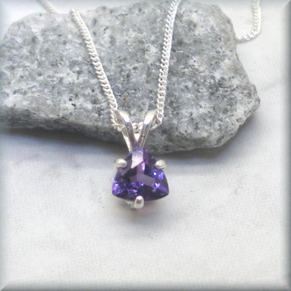 Trillion Amethyst Pendant Necklace - Sterling Silver - Gemstone Necklace