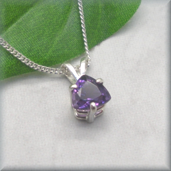 Amethyst pendant, the February birthstone, in a trillion cut necklace