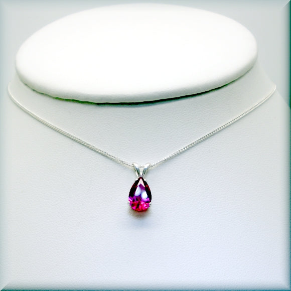 Lab created ruby pendant with sterling silver chain