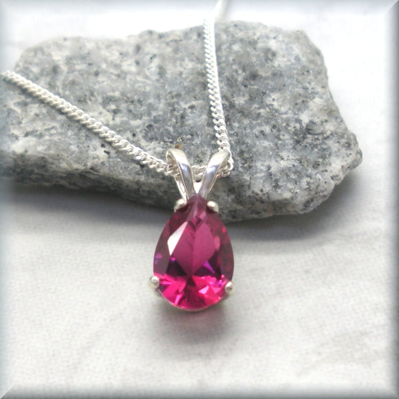 Ruby gemstone necklace with sterling silver chain
