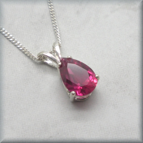 Teardrop ruby pendant in sterling silver
