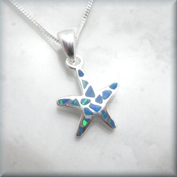 Blue Opal Starfish Necklace - Beach Jewelry -Sterling Silver - Bonny Jewelry