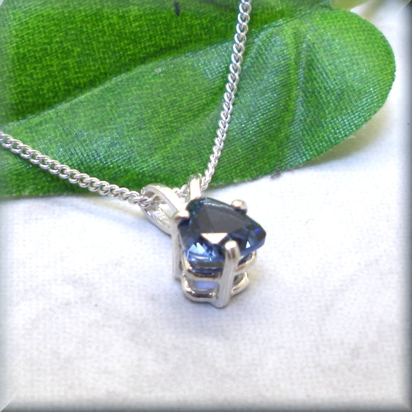 lab created sapphire pendant in sterling silver