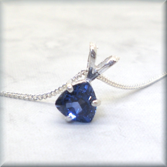 Trillion Cut Blue Sapphire Necklace - September Birthstone