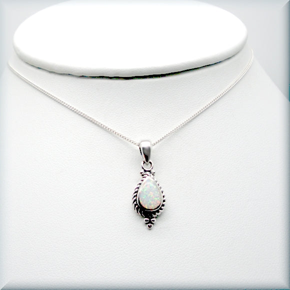 sterling silver white opal necklace