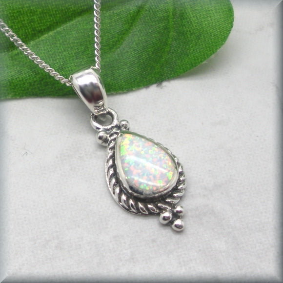 White Opal Necklace with Rope Edge Detail - Sterling Silver