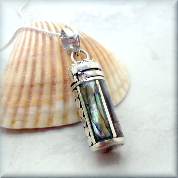 abalone shell prayer box necklace