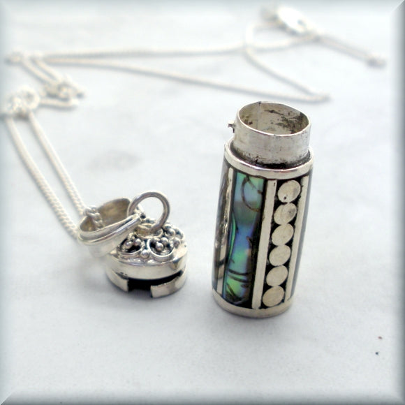 keepsake capsule necklace with abalone inlay