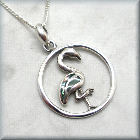 Flamingo Necklace with Abalone Inlay - Sterling Silver
