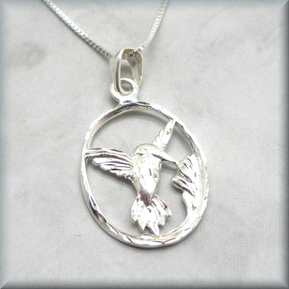 Hummingbird pendant in sterling silver