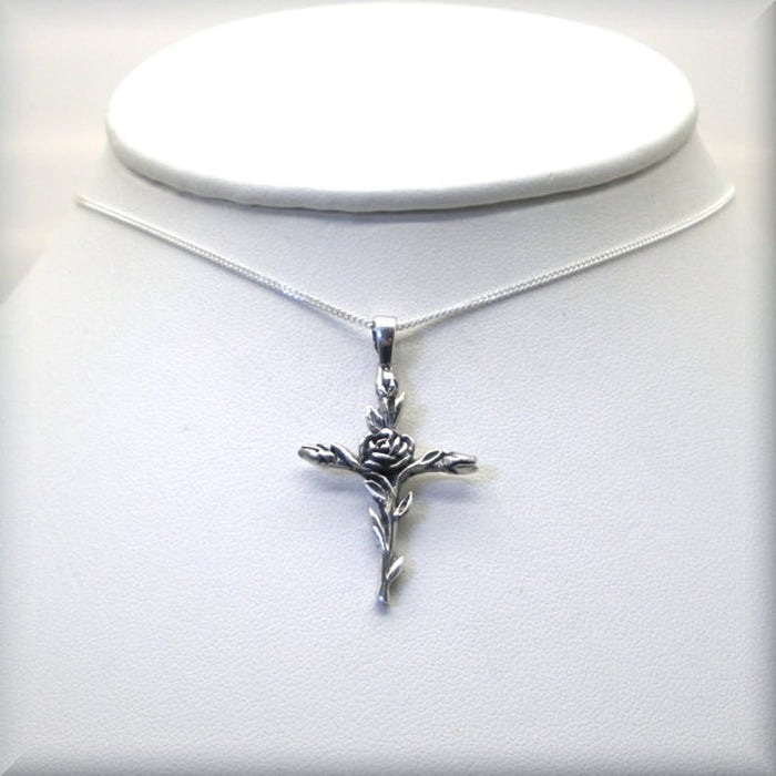 Sterling silver cross with climbing rose