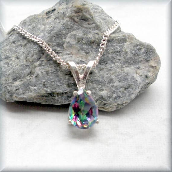 Pear Shape Mystic Topaz Necklace - Gemstone Necklace