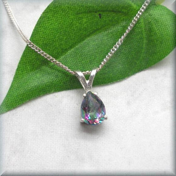 Pear shape mystic topaz necklace
