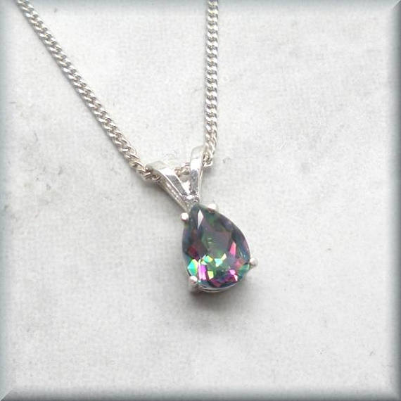 Rainbow topaz with sterling silver chain