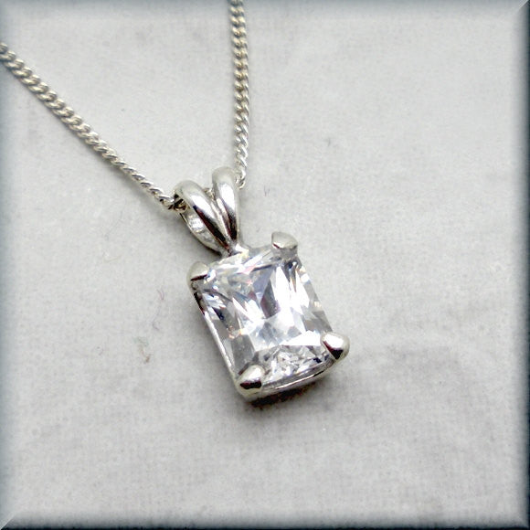 Radiant Octagon Cubic Zirconia Necklace - April Birthstone Jewelry - Bonny Jewelry