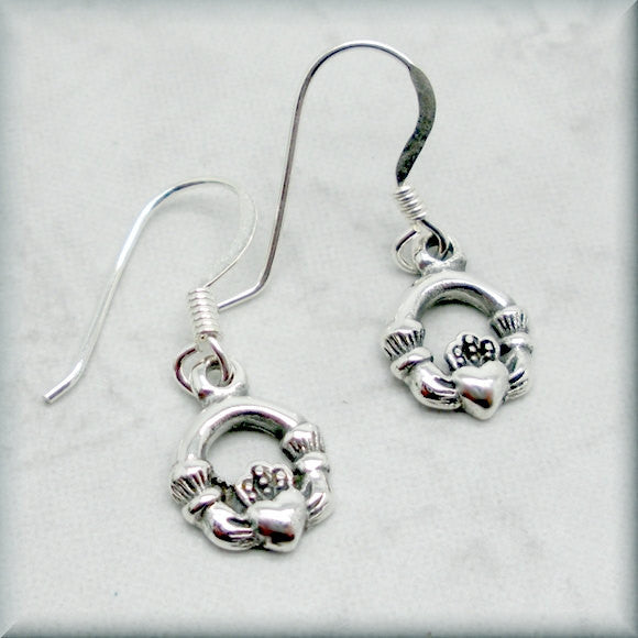 Tiny Celtic Claddagh Earrings
