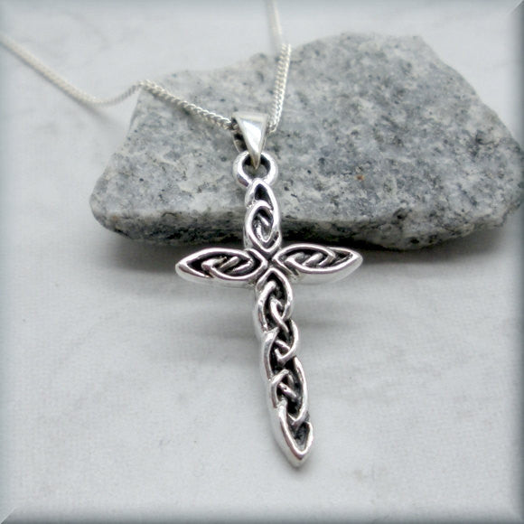 Interwoven Silver Cross Necklace - Religious Jewelry - Bonny Jewelry