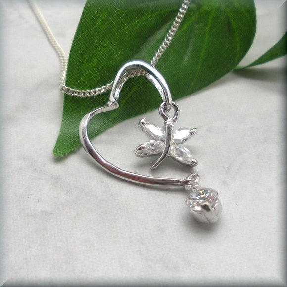 Heart with Crystal Butterfly Necklace - Bonny Jewelry