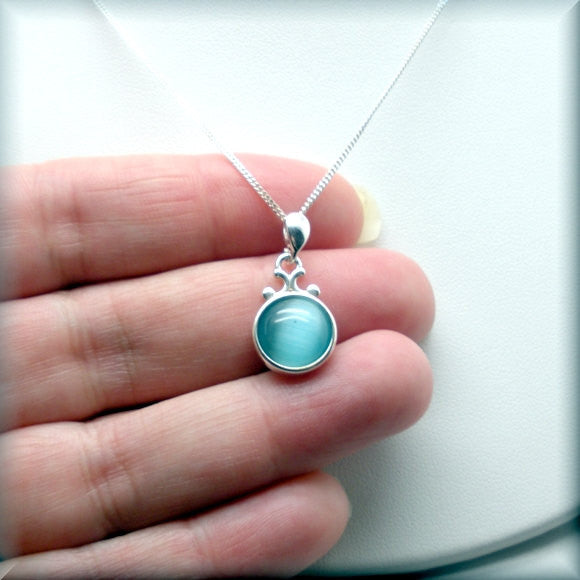 Turquoise Blue Cats Eye Necklace - Cabochon Jewelry (SN926) - Bonny Jewelry