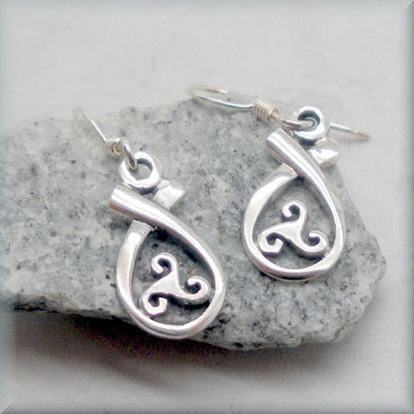 Triskele Teardrop Celtic Earrings