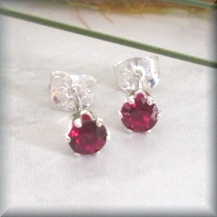 Garnet Post Earrings - January Birthstone - Bonny Jewelry