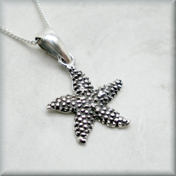 Silver Starfish Necklace - Beach Jewelry - Bonny Jewelry