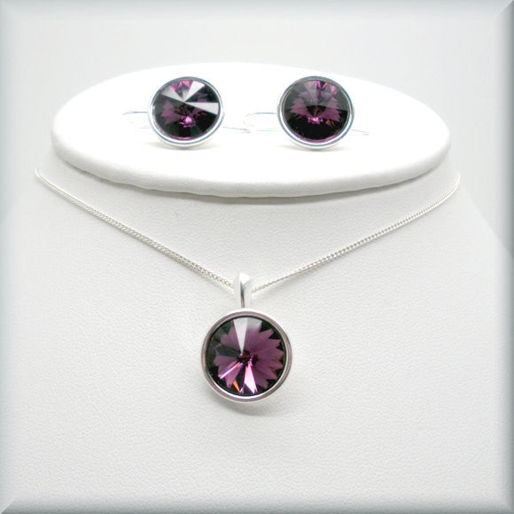 Amethyst Swarovski Crystal Rivoli Necklace - February Birthstone - Bonny Jewelry