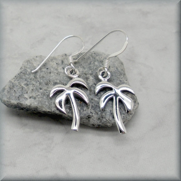 Beach Palm Tree Tropical Earrings - Sterling Silver