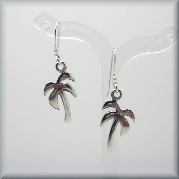 Beach Palm Tree Tropical Earrings - Sterling Silver - Bonny Jewelry
