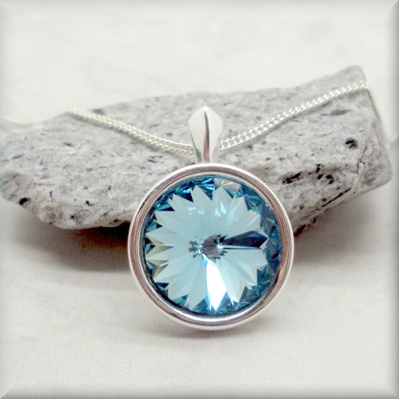 Aquamarine Swarovski Crystal Rivoli Necklace - March Birthstone - Bonny Jewelry