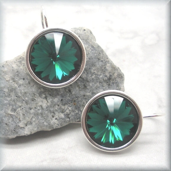 Emerald Swarovski Crystal Rivoli Earrings - May Birthstone - Bonny Jewelry