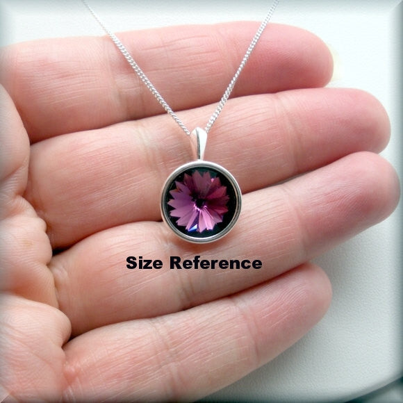 Light Rose Swarovski Crystal Rivoli Necklace - October Birthstone Bonny Jewelry