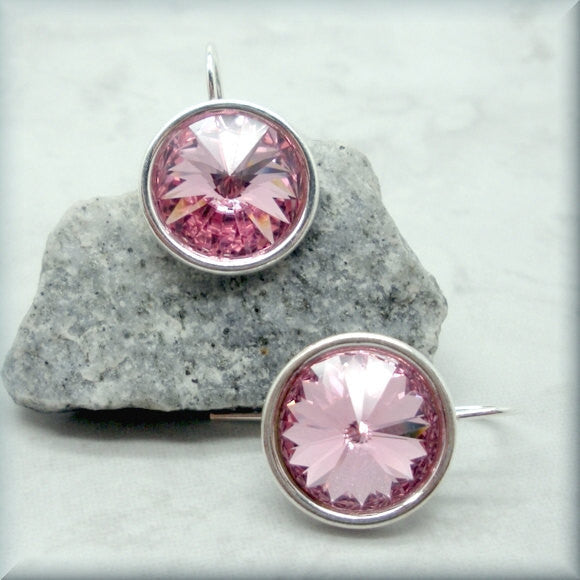 Lt Rose Swarovski Crystal Rivoli Earrings - October Birthstone - Bonny Jewelry