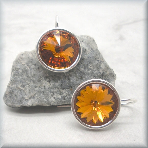 Topaz Swarovski Crystal Rivoli Earrings - November Birthstone - Bonny Jewelry