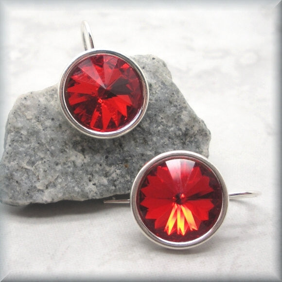 Ruby Swarovski Crystal Rivoli Earrings - July Birthstone - Bonny Jewelry