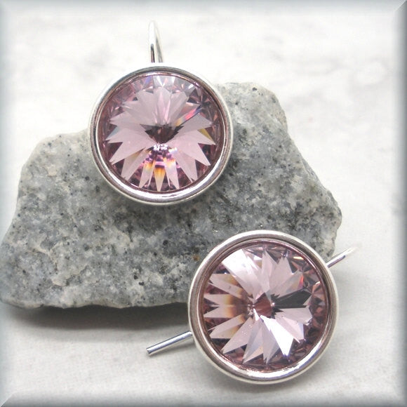 Light Amethyst Swarovski Crystal Rivoli Earrings - June Birthstone - Bonny Jewelry