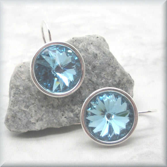 Aquamarine Swarovski Crystal Rivoli Earrings - March Birthstone - Sterling Silver - Bonny Jewelry