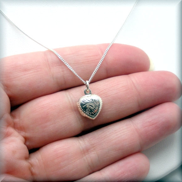 Heart Photo Locket Necklace - Sterling Silver Keepsake Jewelry - Bonny Jewelry