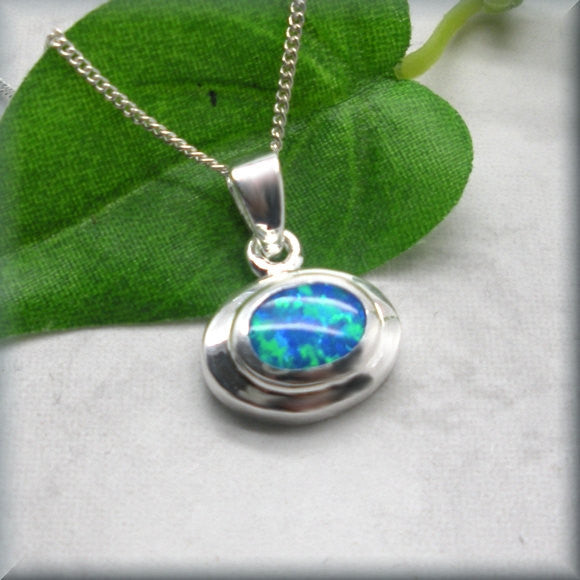 Blue Opal Oval Necklace - October Birthstone - Bonny Jewelry