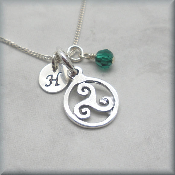 Triskele Birthstone Necklace - Personalized Triskelion Irish Jewelry - Bonny Jewelry