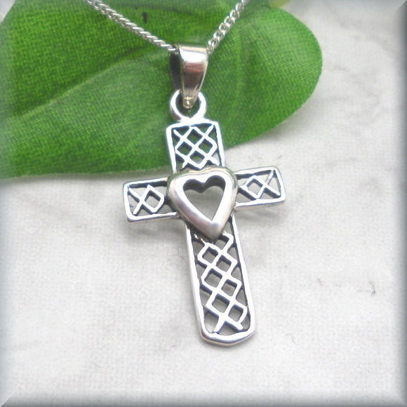 Spiritual Heart Cross Necklace - Faith Jewelry