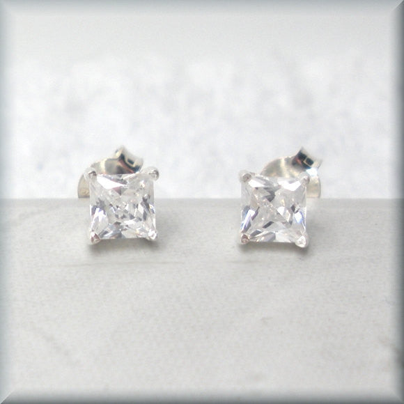 Tiny Square Cubic Zirconia Earrings - April Birthstone