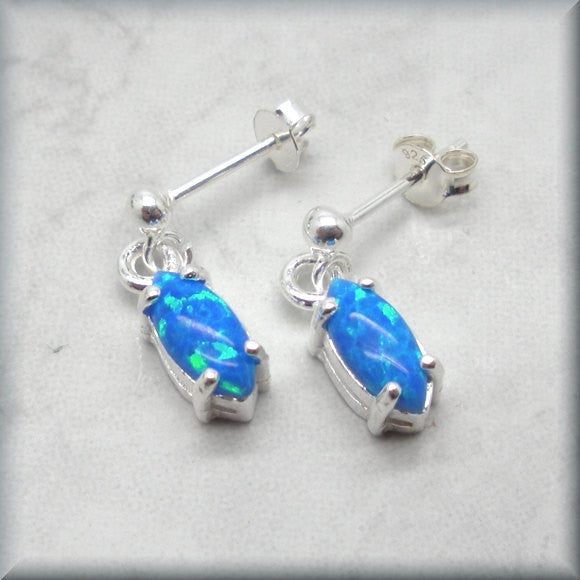 Blue Opal Marquise Stud Earrings - Sterling Silver