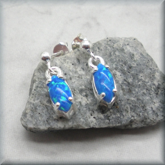 Blue Opal Marquise Stud Earrings - Sterling Silver - Bonny Jewelry
