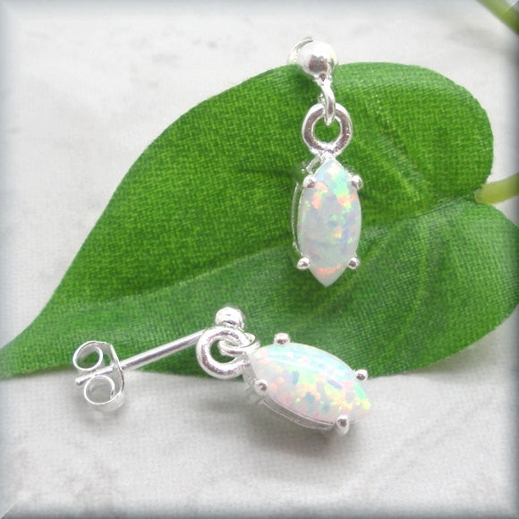 White Opal Marquise Earrings - October Birthstone